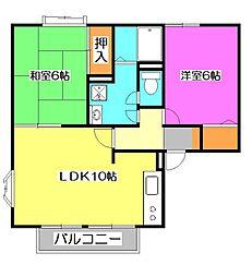 ジュネスK2[2階]の間取り