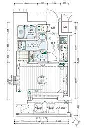 名古屋市営桜通線 高岳駅 徒歩7分の賃貸マンション 6階1Kの間取り