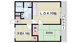 兵庫県神戸市西区王塚台7丁目の賃貸アパートの間取り