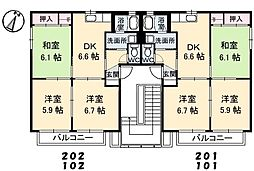 香川県高松市牟礼町大町の賃貸アパートの間取り