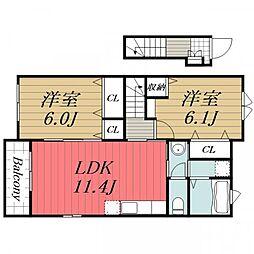 JR総武本線 榎戸駅 徒歩13分の賃貸アパート 2階2LDKの間取り