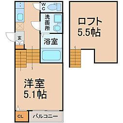 愛知県名古屋市千種区小松町5丁目の賃貸アパートの間取り