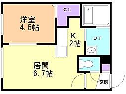 エクセレントハウス 2階1DKの間取り