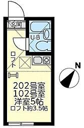 神奈川県横浜市緑区東本郷4の賃貸アパートの間取り