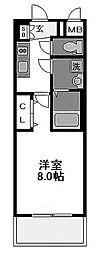 レジュールアッシュ都島 7階1Kの間取り