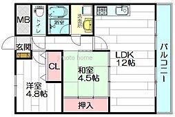 千里泉マンション1[3階]の間取り