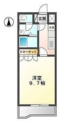 JR身延線 常永駅 徒歩22分の賃貸アパート 2階1Kの間取り