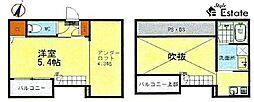 名古屋市営名城線 黒川駅 徒歩8分の賃貸アパート 2階1SKの間取り