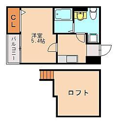 福岡県福岡市中央区梅光園2丁目の賃貸アパートの間取り