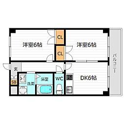 JR片町線(学研都市線) 鴫野駅 徒歩8分の賃貸マンション 6階2DKの間取り