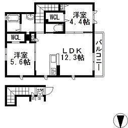 シャーメゾン希II[201号室号室]の間取り