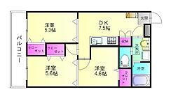 福岡県春日市小倉6丁目の賃貸マンションの間取り