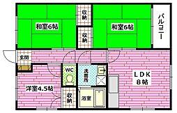 広島県広島市安芸区船越2丁目の賃貸アパートの間取り