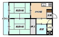 福岡県北九州市小倉南区湯川1丁目の賃貸マンションの間取り