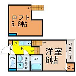愛知県名古屋市千種区今池3丁目の賃貸アパートの間取り