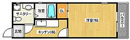 京都市営烏丸線 北大路駅 徒歩18分の賃貸マンション 3階1Kの間取り