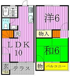 [タウンハウス] 千葉県松戸市二十世紀が丘萩町 の賃貸【千葉県 / 松戸市】の間取り