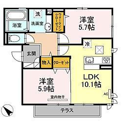 D-room可部3丁目B棟[202号室]の間取り