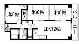 インペリアル花屋敷[3階]の間取り