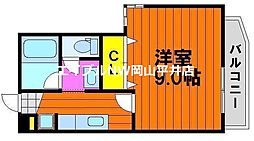 JR赤穂線 西大寺駅 徒歩13分の賃貸マンション 3階1Kの間取り