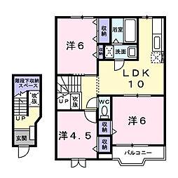 フラワータウン亀山II[2階]の間取り