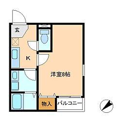 ヴィーブリアン松戸B[2階]の間取り
