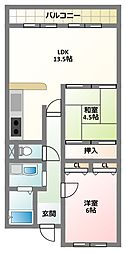 京阪本線 大和田駅 徒歩18分の賃貸マンション 3階2LDKの間取り