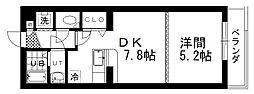 ノースコート暁 4階1DKの間取り