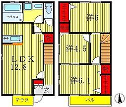 [テラスハウス] 千葉県松戸市松飛台 の賃貸【/】の間取り