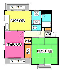 東京都東村山市青葉町2丁目の賃貸マンションの間取り