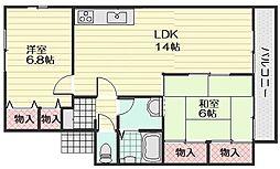 セジュール西田[2階]の間取り