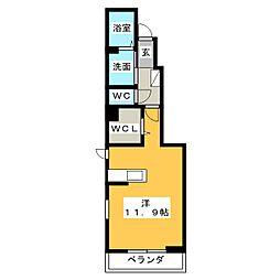 グレイスハーモニーV 1階ワンルームの間取り