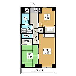 ヒルズ M1[3階]の間取り