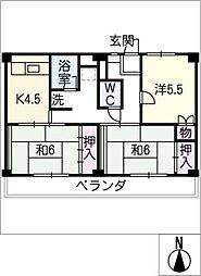 ビレッジハウス増田 1号棟[1階]の間取り