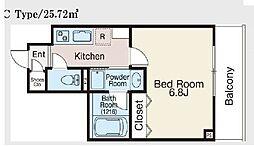 JR総武本線 馬喰町駅 徒歩5分の賃貸マンション 2階1Kの間取り