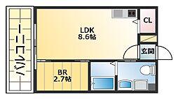 コスモクレスト柴島 3階1LDKの間取り