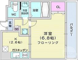 HF仙台レジデンスEAST 6階1Kの間取り