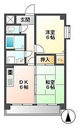 エステート岩塚[6階]の間取り