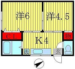 三洋ハイツ[2階]の間取り