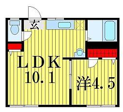 東京都葛飾区青戸2丁目の賃貸アパートの間取り
