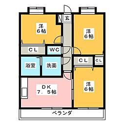 ラビナコ−ト21[4階]の間取り