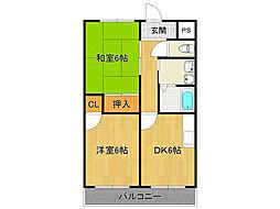 サニーサイド武庫之荘3[6階]の間取り
