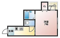エスポアール豊秀I 5階ワンルームの間取り