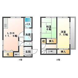 [タウンハウス] 愛媛県新居浜市土橋1丁目 の賃貸【/】の間取り