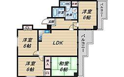 岡町百番館[4階]の間取り