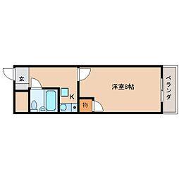 近鉄天理線 天理駅 徒歩10分の賃貸マンション 2階1Kの間取り