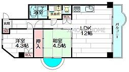 大建コーポ江坂[3階]の間取り