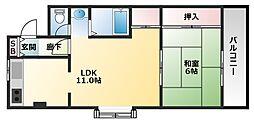 前田ハイツ 3階1LDKの間取り