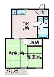コーポ飯野[2階]の間取り