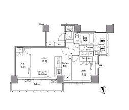 JR山手線 目黒駅 徒歩14分の賃貸マンション 29階2LDKの間取り